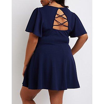 Plus Size Lattice-Back Skater Dress