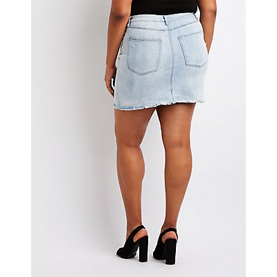Plus Size Refuge Destroyed Denim Mini Skirt