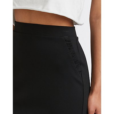Ruffle Trim Pencil Skirt