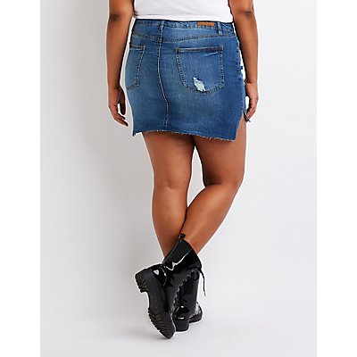 Plus Size Destroyed Denim Skirt