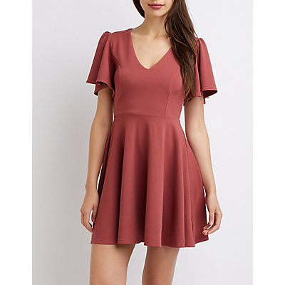 Flutter Sleeve Lattice-Back Skater Dress