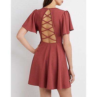 Flutter Sleeve Lattice-Back Skater Dress