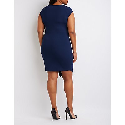 Plus Size Draped Front Bodycon Dress