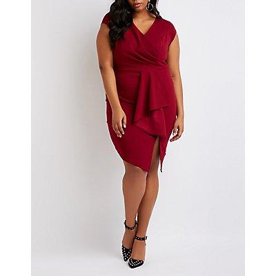 Plus Size Draped Front Bodycon Dress