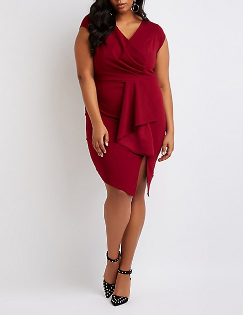 ac shipped floral drapes neck sheath plus tucked draped sleeve cowl papell adrianna wrap crepe and v size dress stretch neckline with printed bliss