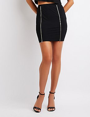 Zip-Front Bodycon Mini Skirt