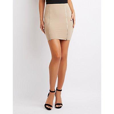 Zip-Front Bodycon Mini Skirt