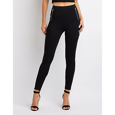 Zipper-Trim High-Rise Ponte Knit Leggings