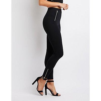 Zipper-Trim High-Rise Ponte Knit Leggings