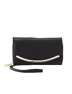 Metal Trim Zipper Wallet