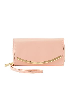 Metal Trim Wristlet Clutch