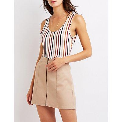 Stripe Open Back Bodysuit