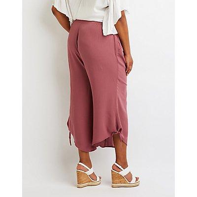 Plus Size Tie Side Wide Leg Pant