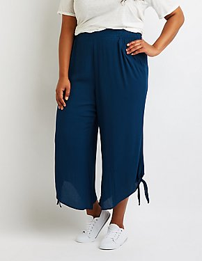 Plus Size Tie Side Wide Leg Pant
