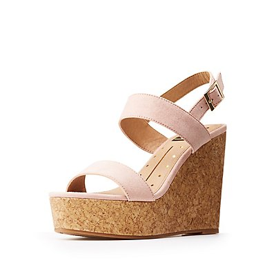 Ankle Wrap Cork Wedge Sandals