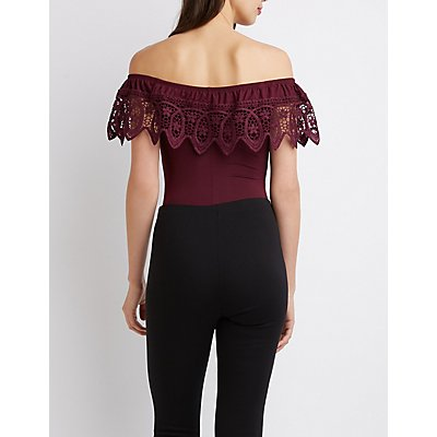 Crochet-Trim Off-The-Shoulder Bodysuit