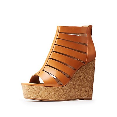 Caged Cork Wedge Sandals