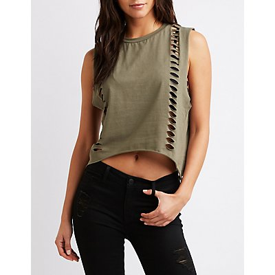 Sleeveless Distressed Tank Top