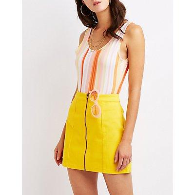 Striped Open Back Bodysuit