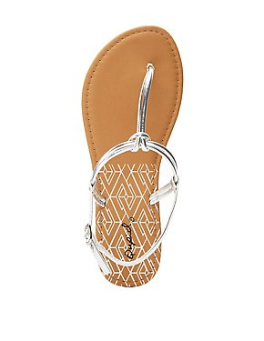 Qupid Knotted T-Strap Sandals
