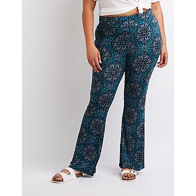 Plus Size Paisley Flare Pants