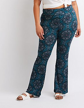 Plus Size Paisley Flare Pants