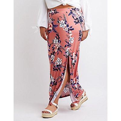 Plus Size Floral Side Slit Maxi Skirt