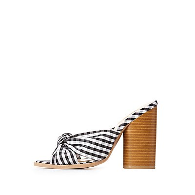 Qupid Gingham Open Toe Sandals