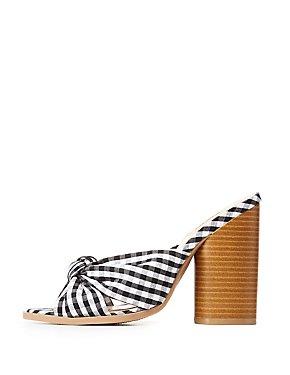 Qupid Gingham Open Toe Sandals