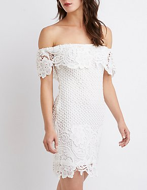 Crochet Off-The-Shoulder Bodycon Dress