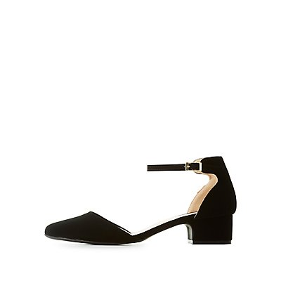 Qupid Ankle Strap D'Orsay Pumps