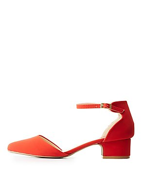 Qupid D'Orsay Ankle Strap Pumps