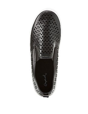 Qupid Laser Cut Slip On Sneakers