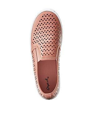 Qupid Laser Cut Slip On Sneakers