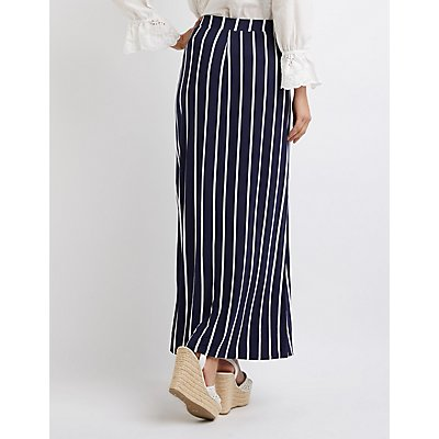 Striped Side Slit Maxi Skirt