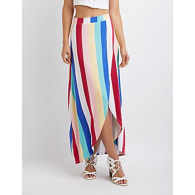 Striped Wrap Maxi Skirt
