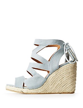 Qupid Crisscross Espadrille Wedge Sandals