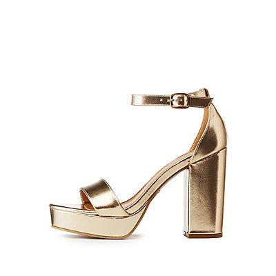 Bamboo Metallic Ankle Strap Platform Sandals