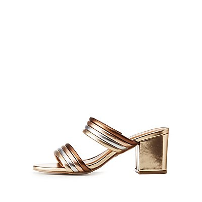 Bamboo Mixed Metal Double Strap Sandals