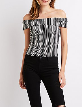 Striped Off-The-Shoulder Cropped Top