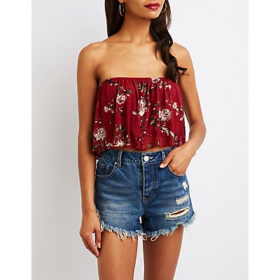 Floral Mesh Ruffle Crop Top