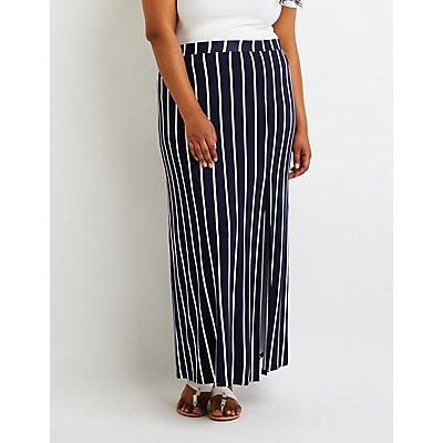 Plus Size Striped Maxi Skirt | Tuggl