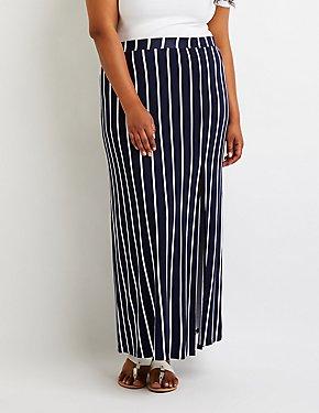 Plus Size Striped Maxi Skirt