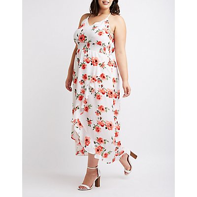 Plus Size Floral Ruffle Maxi