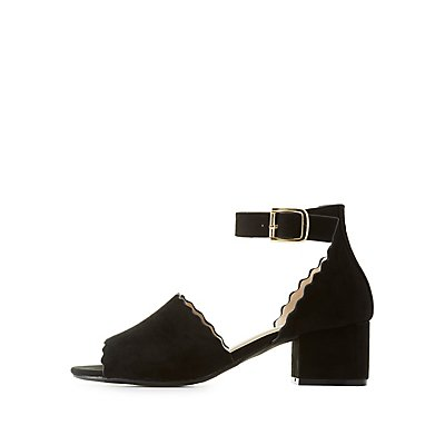 Qupid Ankle Strap Scallop Sandals