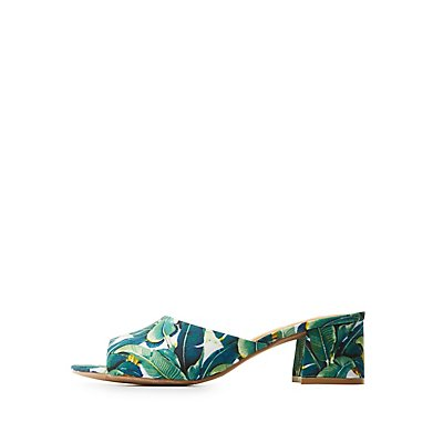 Qupid Tropical Print Mules