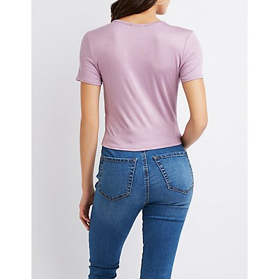 Ruched Crew Neck Top