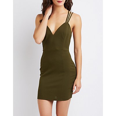 Strappy V-Neck Bodycon Dress