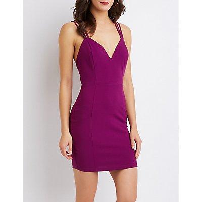Strappy V-Neck Bodycon Dress