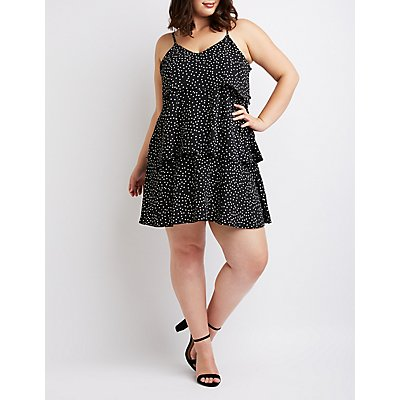 Plus Size Polka Dot Tiered Ruffle Dress